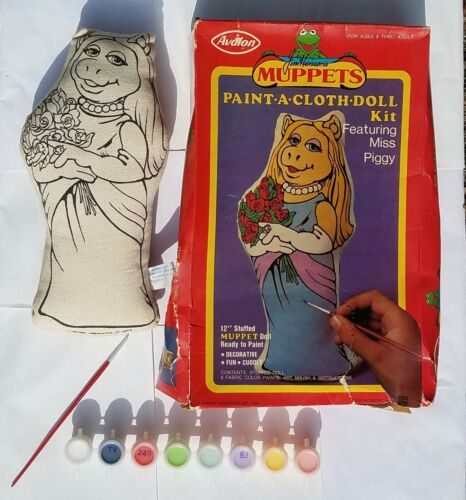 Vintage MISS PIGGY 1978 Paint-A-Cloth-Doll Kit RARE Muppets 1970s