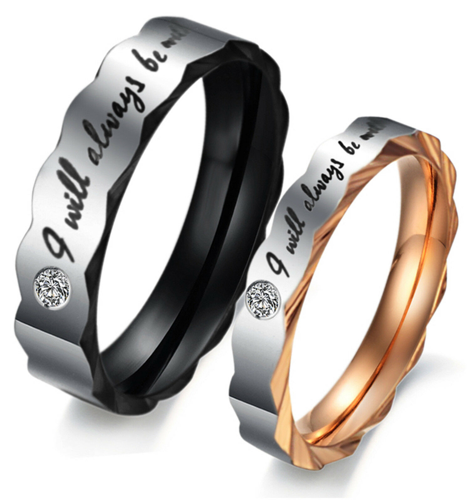 """Couple's Matching Promise Ring """"Will always be with you"""" His or Her Wedding Band Fashion Jewelry"""