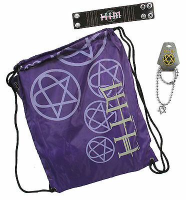 H.I.M. Him Gift Set Drawstring Bag Beach Towel Wristband Heartagram Necklace -