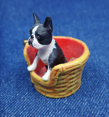 tiny MINIATURE realistic BOSTON TERRIER dog in-a-basket resin figure