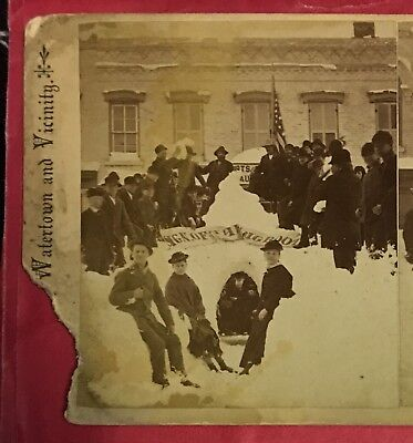 1880s BOOT FACTORY Watertown NY Women Men Winter Fashion Stereoview Albumen Phot