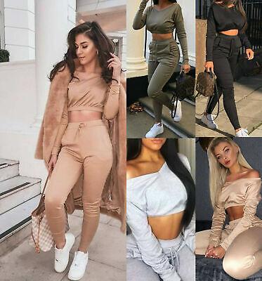 Women Ladies Co ord Cropped Top Suit Lounge Wear Bottoms Tracksuit 2PCS Set 6-14