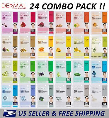 Dermal Korea Collagen Essence Full Face Facial Mask Sheet  24 Combo Pack  New
