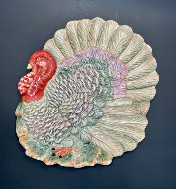 Vintage Kaldun & Bogle Thanksgiving Turkey Platter Fall Holiday; Hand Painted