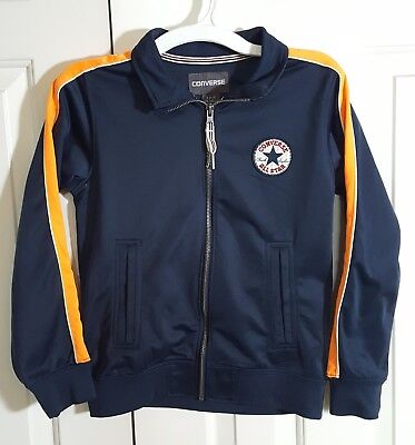 Converse Kids Jacket SMALL Boys Zipper Front Navy Blue Orange Stripe - Childrens Converse Jacket