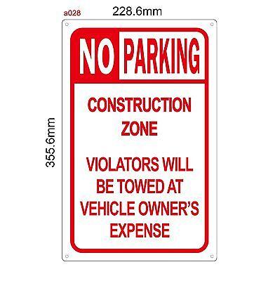 No Parking Anytime Temporary Construction Regulation Sign -aluminum