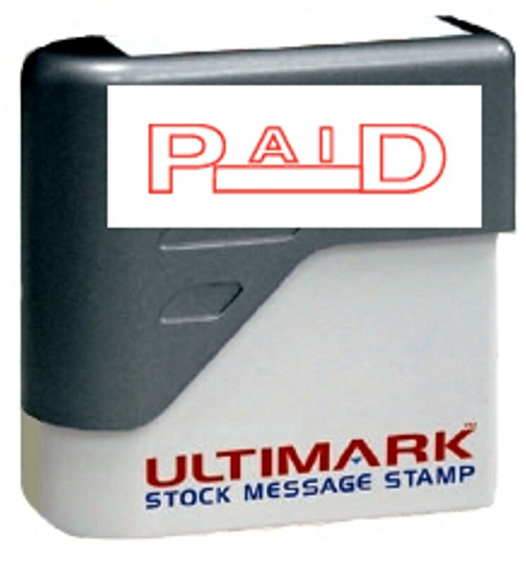PAID stamp text with Date Box on Ultimark Pre-inked Message Stamp with Red Ink