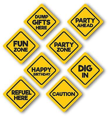 Construction Birthday Party Signs, glossy 8 Pack, Medium Size 8