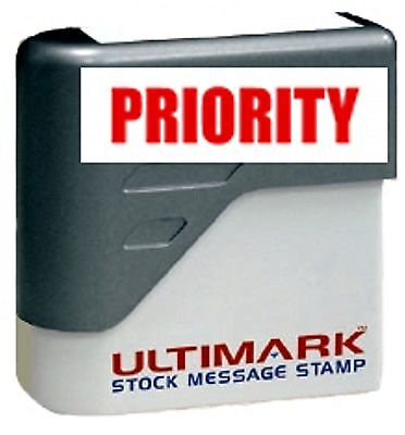 Priority Text On Ultimark Pre-inked Message Stamp With Red Ink