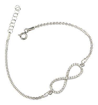 Unendlichkeit Unendlich Infinity Armband Armkette Damen 925er Silber Zirkonia
