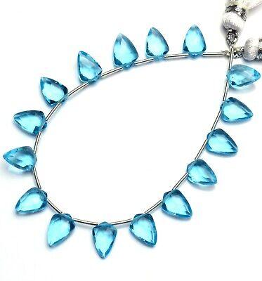 Swiss Blue Topaz Color Hydro Quartz Faceted 10x7MM Tie Shape Briolette Beads 7