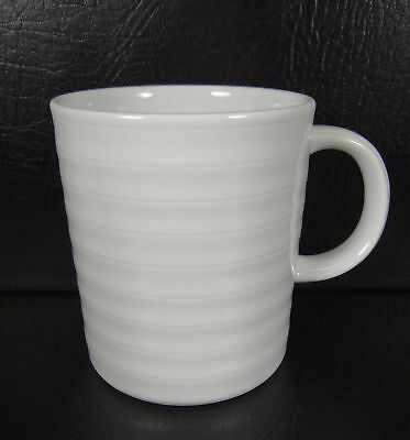 Crate & Barrel Set of 6 Roulette Mugs White Ribbed Spal Porcelain Portugal