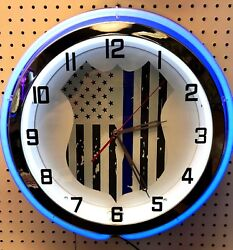 18 Thin Blue Line Police Officers Sign Double Neon Clock