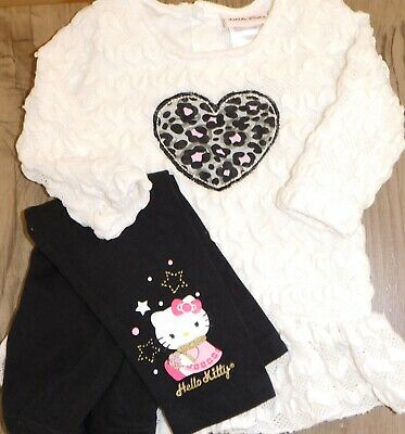 Hello Kitty Toddler Outfit (Hello Kitty & Little Lass Pants Outfit 2T/24 M Toddler Girls Winter Set)
