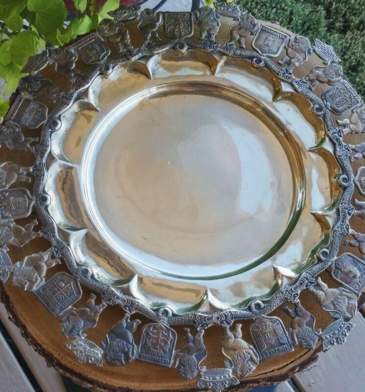 Vintage Silverplate Wine Coaster/ Lions Crests Crowns Design/ Platter/ Tray