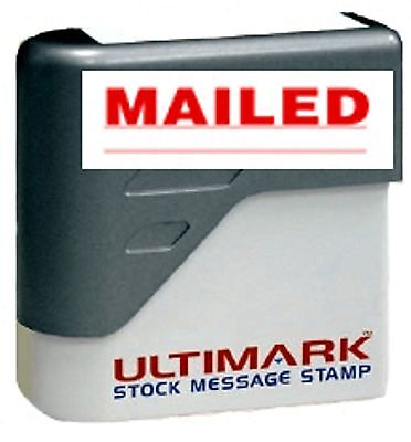Mailed Text On Ultimark Pre-inked Message Stamp With Red Ink