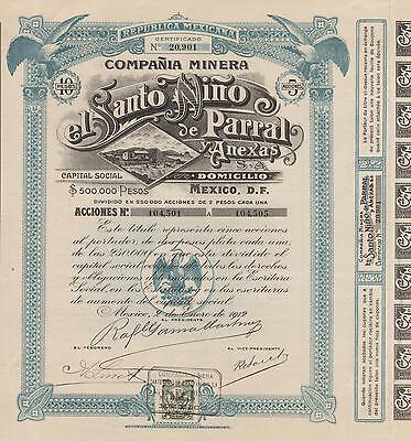 Mexico Santo Nino Mining Company Bond Stock Certificate 1912 W Coupons