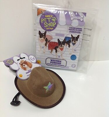 NIP RUBIES PET SHOP WESTERN SHERIFF COWBOY HAT & PONCHO COSTUME SET BROWN - Sheriff Hunde Kostüm