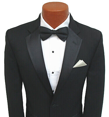Men's Black Tuxedo Jacket Satin Notch Lapels Formal Prom Costume Bond Spy - Costums For Men