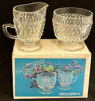 Vintage Indiana Glass Diamond Point 2 Piece Creamer & Sugar Bowl in Original Box