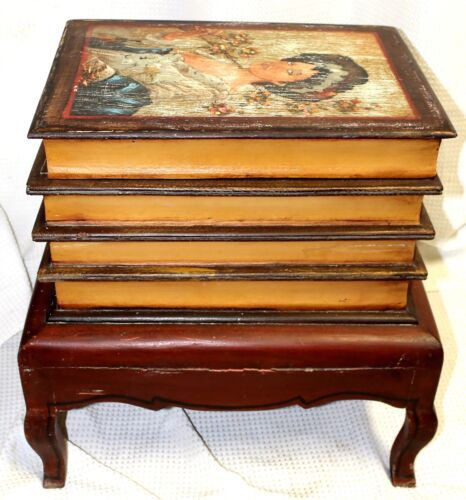 Vintage Faux Stacked Book Table with Hidden Storage Compartment
