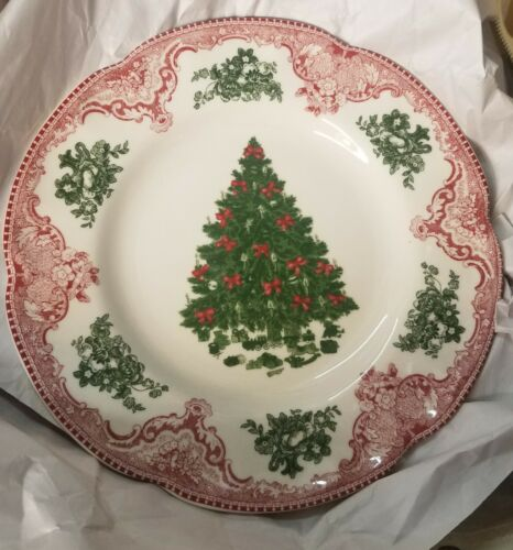 """Johnson Bros OLD BRITAIN CASTLES PINK CHRISTMAS TREE 8.7 """" Luncheon Plate(s) NEW"""