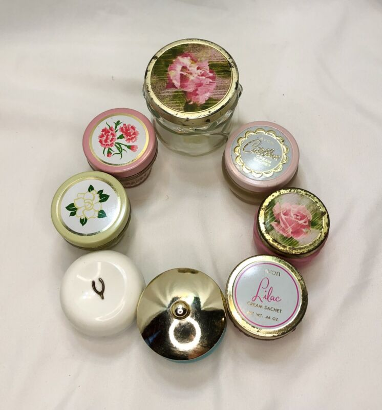 Avon VTG Lot Of 8 Flower Scented Cream Sachet Jars (Some Contents or Empty)