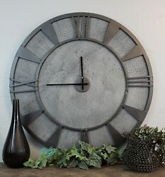 Large Modern Contemporary Industrial Gray Round Metal Wood Wall Clock Art Decor