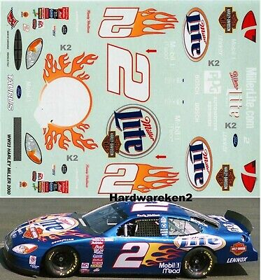 NASCAR DECAL # 2 MILLER LITE HARLEY DAVIDSON 2000 FORD TAURUS RUSTY WALLACE