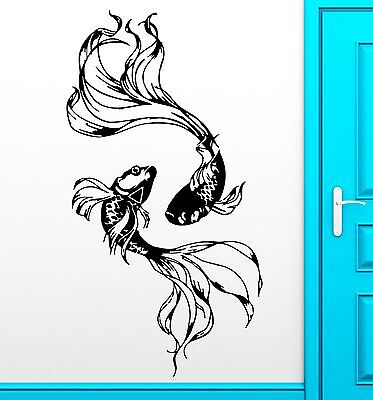 Fish Decor For Walls (Wall Sticker Fishes Water Marine Ocean Beautiful Cool Decor For Bedroom )
