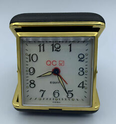 Vintage Equity wind up style travel alarm clock Black / Gold trim