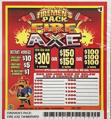 """Firemen Series"" 1 Window Pull Tab 480 Tickets Free Shipping USA"