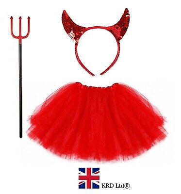 RED DEVIL TUTU COSTUME Girls Halloween Feather Fancy Dress Outfit Party Lot - Red Devil Girl Kostüm