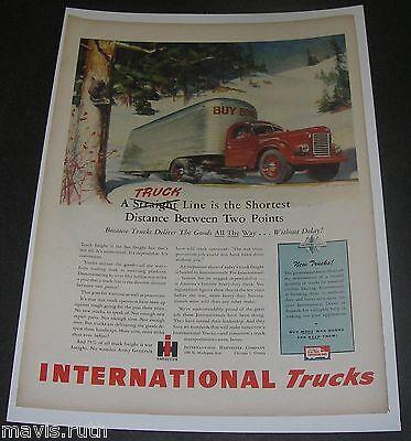 Print Ad 1945 INTERNATIONAL Trucks ART by Robert Skemp Shortest Distance Winter.
