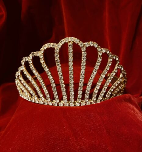 Vintage 1950s Clear Rhinestone Crown Gold Colored Combs - $28.00