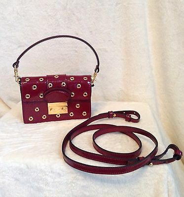 New With Tags - RED VALENTINO Red Patent Leather Gold Grommet Crossbody Handbag