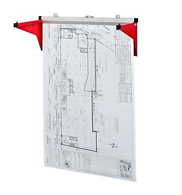 AdirOffice Red Drop Lift Wall Rack for Blueprints Plans W/12-File Hanging -