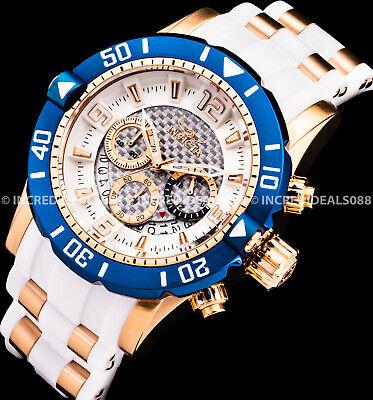 Invicta Men Pro Diver SCUBA Chronograph Rose Gold Silver Dial White Strap Watch
