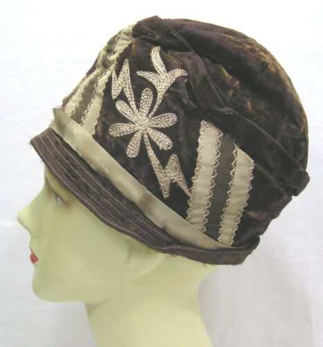 Vtg Ladies Hat 1920s Cloche Embroidered Flowers Grosgrain Ribbon Brown Shades
