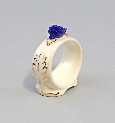 9959383 Porzellan 1 Serviettenring blau Rose gold Ens/ErnstBohne 6x2,5x6cm