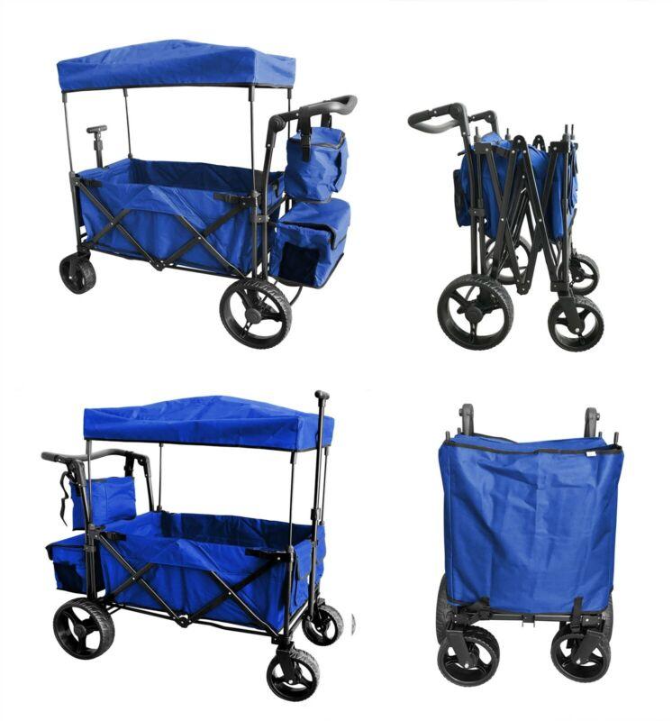 BLUE Collapsible Folding Wagon Cart Canopy Garden Beach Sport Buggy Stroller