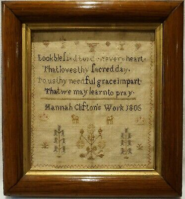 VERY SMALL EARLY 19TH CENTURY VERSE & MOTIF SAMPLER BY HANNAH CLIFTON - 1805