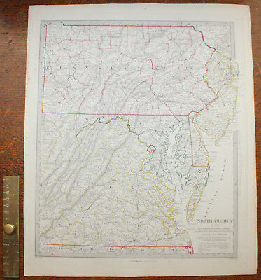 1853 Pennsylvania New Jersey Maryland Delaware Original Antique MAP George Cox