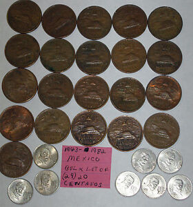 bulk lot of (29) Mexico 20 Centavos coins; 1943-1982