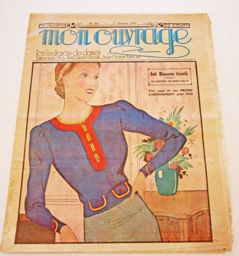 1930s Vintage French Magazine Mon Ouvrage October 1937 Embroidery, Sewing