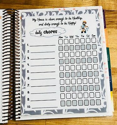 Daily Chores Cleaning Schedule Dashboard Insert for use w/ Erin Condren Planner