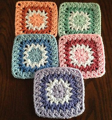 "20 5"" PASTEL Hand Crocheted GRANNY SQUARES Blocks AFGHAN THROW"