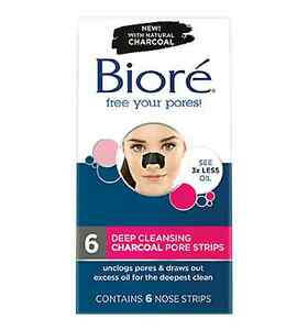 = BIORE DEEP CLEANSING CHARCOAL PORE STRIPS 6 NOSE STRIPS CLEAN AND UNCLOG PORES