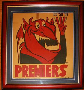 1957 Melbourne original Herald Premiers framed Weg Poster