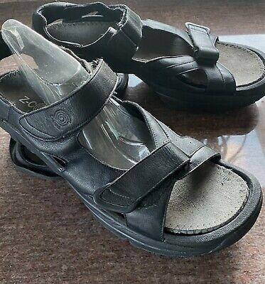 Z-Coil Mens Black Leather Sandals Sz 12 'SIDEWINDER' EUC Pain Relief Orthotic